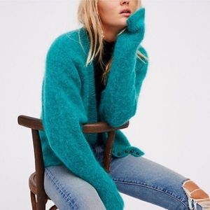 Free People Little Lies Green Button Cardigan